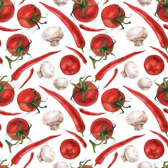 Watercolor realistic food pattern