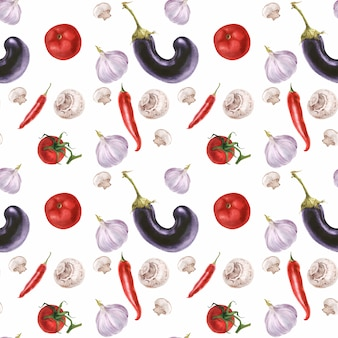 Watercolor realistic fresh vegetarian food pattern