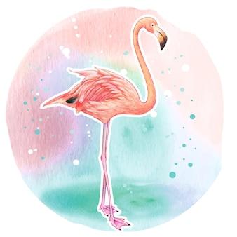 수채화 현실적인 핑크 플라밍고
