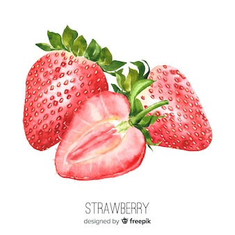 Watercolor realistic strawberry background