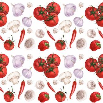 Watercolor realistic vegan food pattern