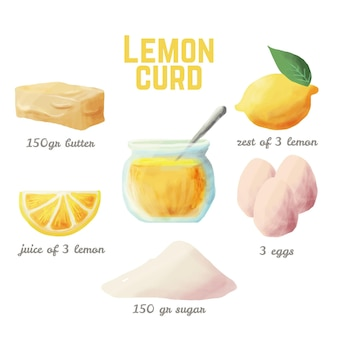 Watercolor recipe lemon curd