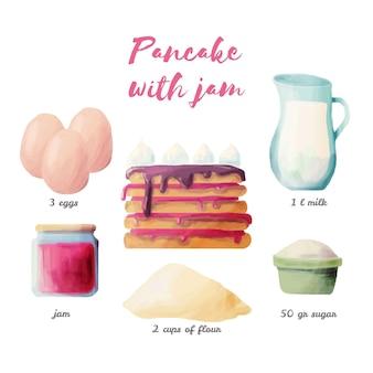 Watercolorrecipe pancake with jam