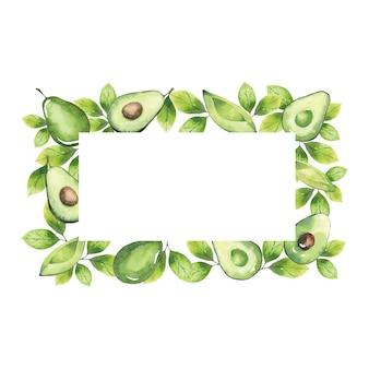 Акварельная прямоугольная рамка из элементов авокадо и зелени