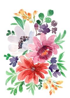 水彩の赤と紫の花の花束