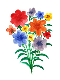 수채화 빨간색 파란색과 노란색 꽃 꽃다발