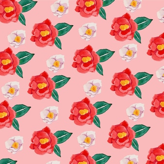 Watercolor red camellia flower seamless pattern
