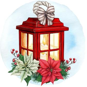 포인세티아와 수채화 빨간 크리스마스 랜 턴