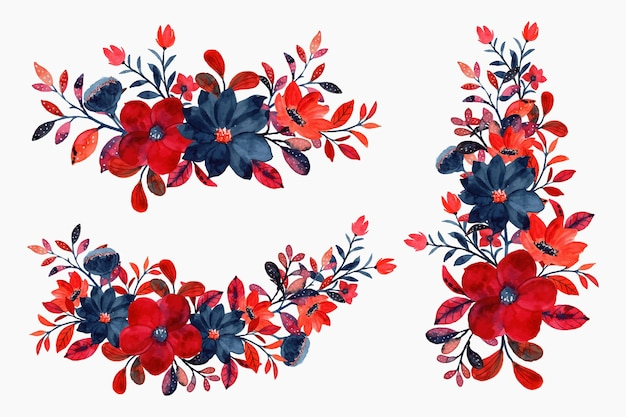 Watercolor red floral bouquet collection