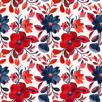 Watercolor red floral seamless pattern