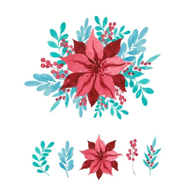 水彩の赤い花の花束