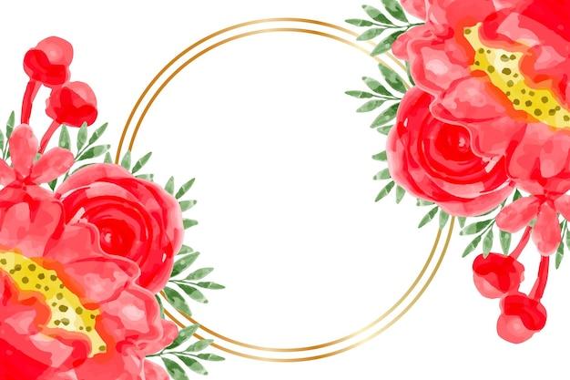 水彩の赤い花フレームの背景