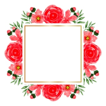 Watercolor red flower frame background