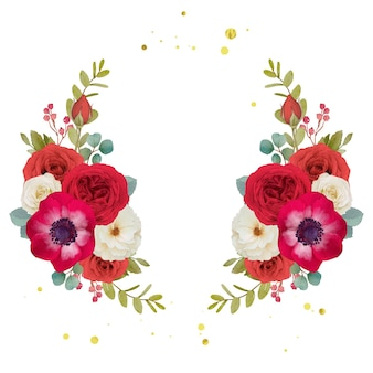 Watercolor red flowers wreath