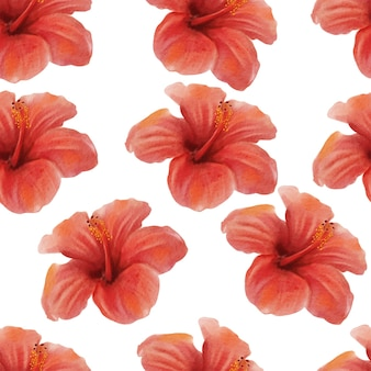 Watercolor red hibiscus tropical flower pattern background