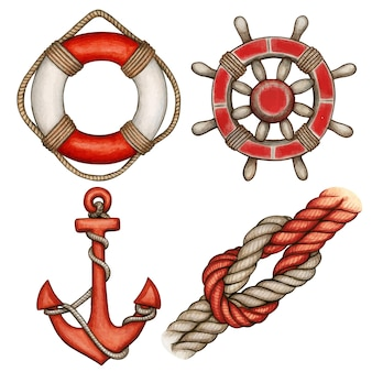 Watercolor red nautical icons buoy anchor helml and knot