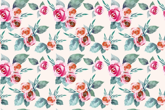 Watercolor red and orange flowers seamless pattern