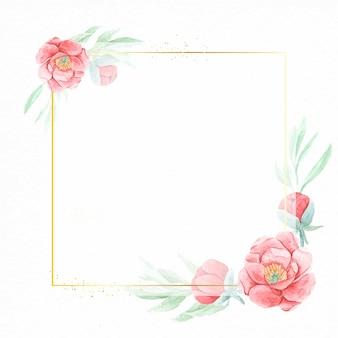 結婚式の招待状や中国の旧正月のためのコピースペースで用紙の背景に幾何学的なゴールデンフレームと水彩の赤い牡丹の花