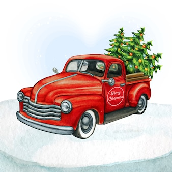 Watercolor red pickup vintage truck  with christmas trees