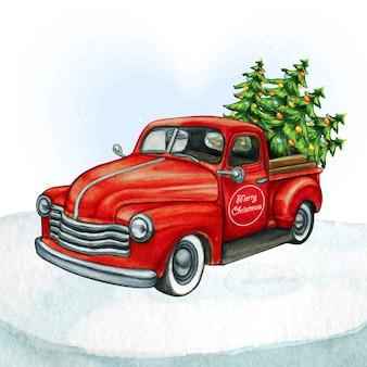クリスマスツリーと水彩の赤いピックアップビンテージトラック