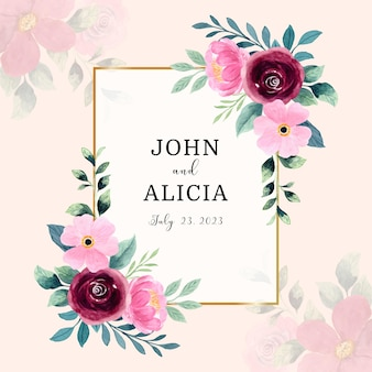 Watercolor red pink flower frame background