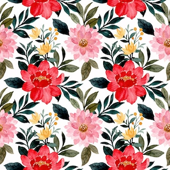 Watercolor red pink flower seamless pattern