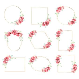 ベテランの日の金色のフレームコレクションと水彩の赤いポピーの花の花輪