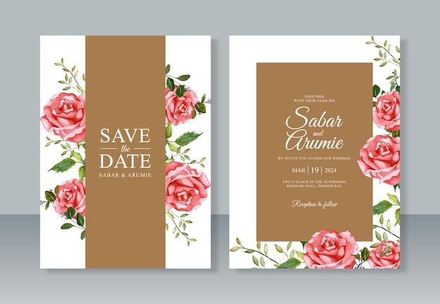 우아한 결혼식 초대장 서식 파일에 대 한 수채화 붉은 장미 꽃 그림