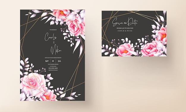 水彩の赤いバラの結婚式の招待カード