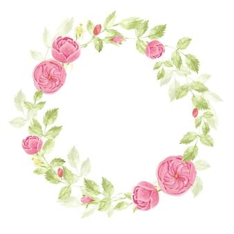 Акварель красный летний тропический цветок гибискус и букет венок плюмерии