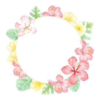 수채화 빨간색 여름 열대 꽃 히비스커스와 plumeria 화환 프레임