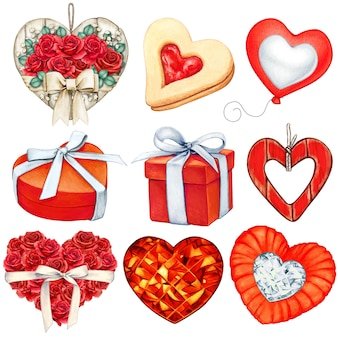 水彩の赤いバレンタインデーの装飾コレクション