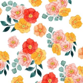 水彩赤黄色とピンクのポピー花のシームレスなパターン