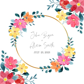 Watercolor red yellow flower frame with gold circle