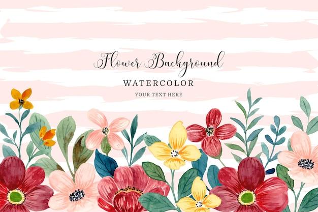 Watercolor red yellow flower garden background
