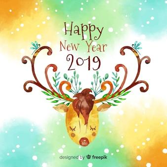 Watercolor reindeer new year background