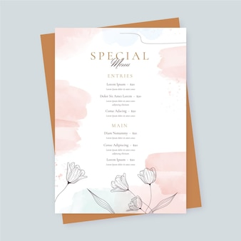 Watercolor restaurant menu template with flowers