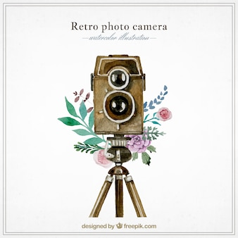 Watercolor retro photography camera