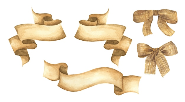 수채화 리본과 삼베 활 세트. 손으로 그린 줄무늬 또는 텍스트 배너. 수채화 디자인 요소.