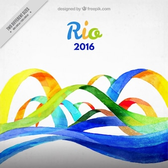 Watercolor ribbons rio 2016 background