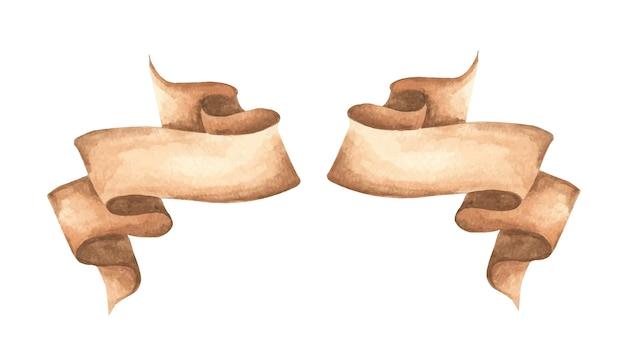 수채화 리본 세트. 손으로 그린 된 줄무늬 또는 리본