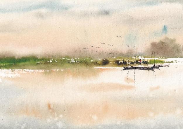 수채화 강 풍경화