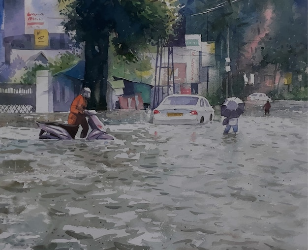 洪水の風景ビューで水彩道路の悲惨