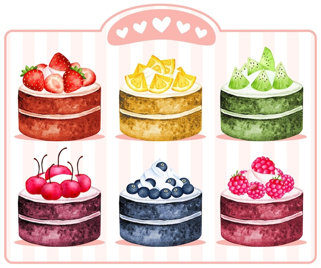 Ролл торт акварель