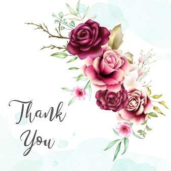 Watercolor rose bouquet backfround with thank you message