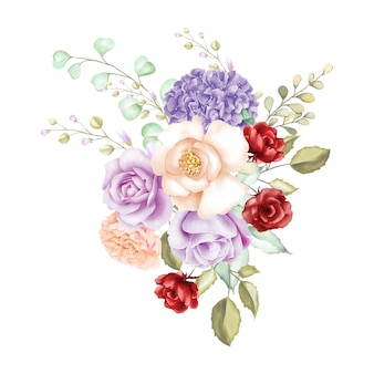 Watercolor rose bouquet backfround
