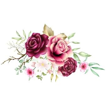 Watercolor rose bouquet backfround