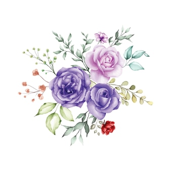 Watercolor rose bouquet background