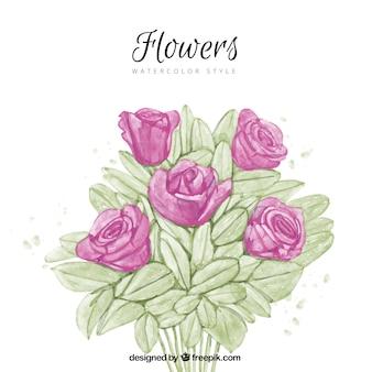 Acquerello sfondo rosa bouquet