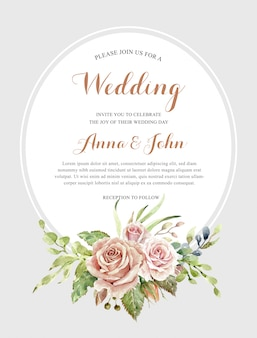 Watercolor rose bouquet for card template